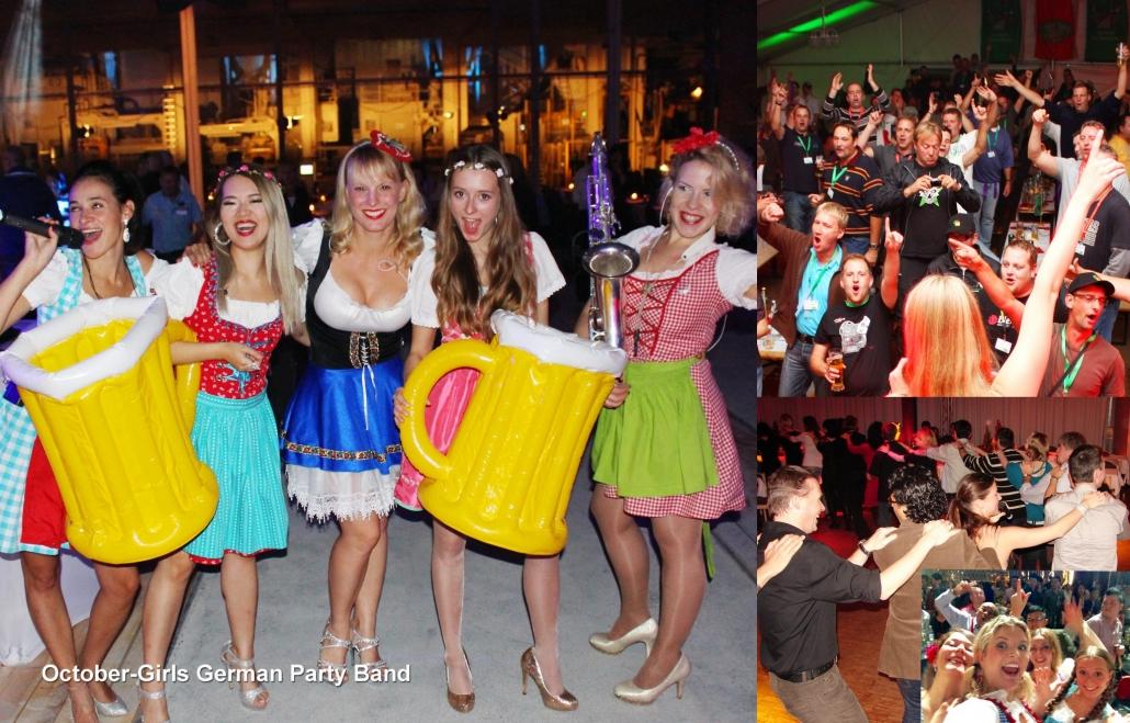 Oktoberfest Band für Oktoberfeste von Uta Sophie Halbritter. Die October-Girls spielen weltweit deutsche Hits